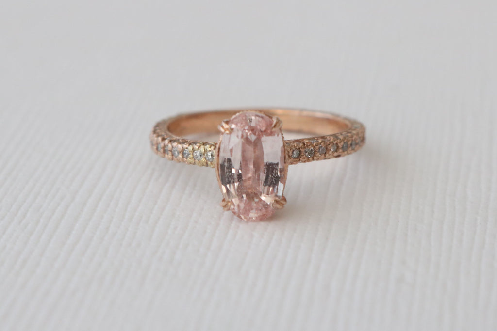 Oval Peach Pink Sapphire Solitaire Diamond Engagement Ring in 14K Rose Gold