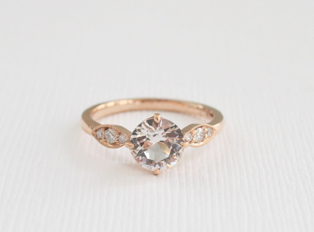 Rose Cut Peach Sapphire Pave' Diamond Ring in 14K Rose Gold