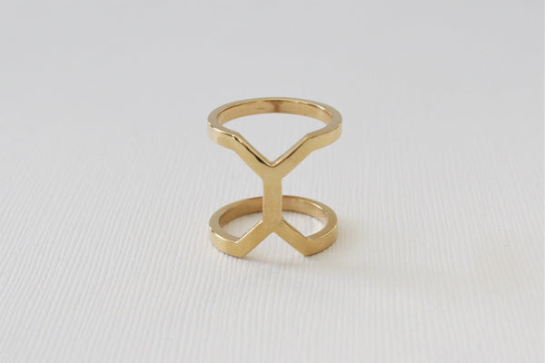 Ten Double Bar Reversible Statement Ring in 14K Solid Yellow Gold