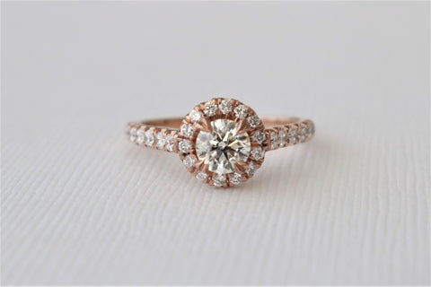 1.15 Ct Diamond Halo Engagement Ring in 14K Rose Gold