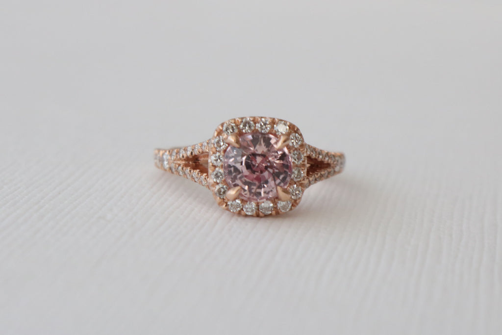 2.18 Cts. Round Peachy Pink Sapphire Diamond Halo Split Shank Ring in 14K Rose Gold