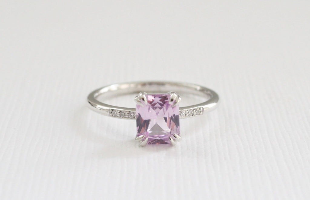 Solitaire Split Prong Radiant Cut Lavender Pink Sapphire and Diamond Ring in 14K White Gold