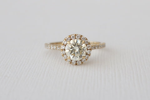 1.45 Ctw. Round Brilliant Cut Diamond Halo Engagement Ring in 14K Yellow Gold