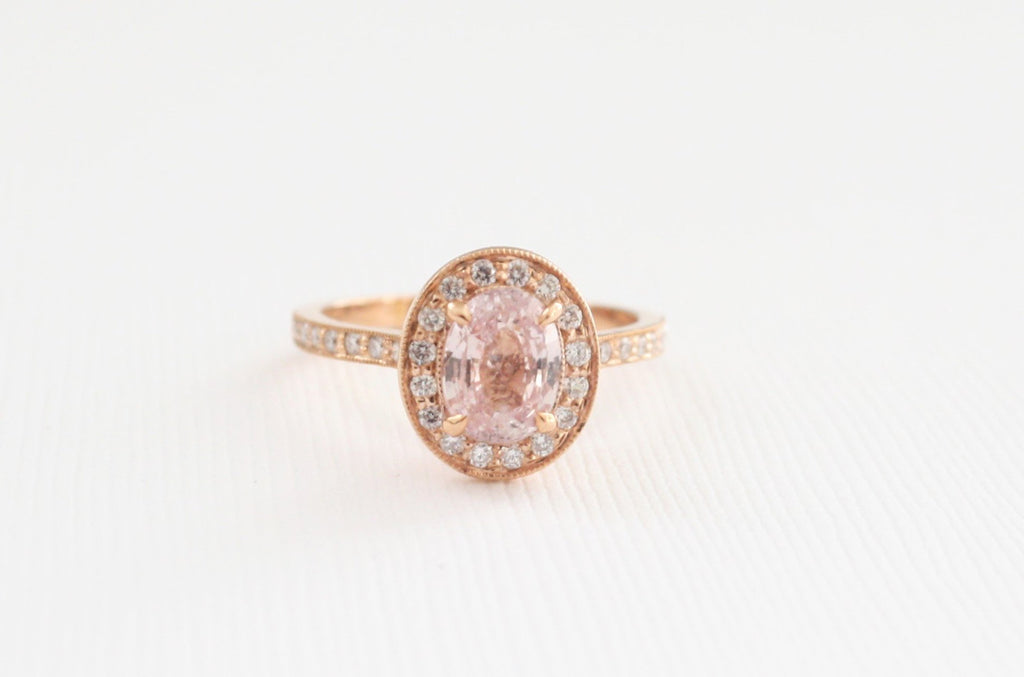 Oval Peach Sapphire Diamond Halo Milgrained Ring in 14K Rose Gold