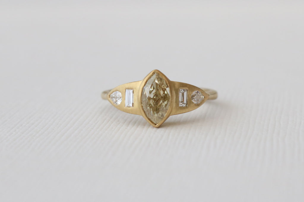 Marquise Cut Champagne Diamond Bezel Ring in 18K Matte Finish Yellow Gold