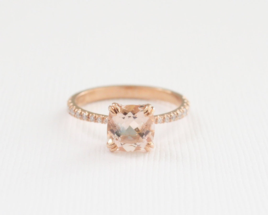 Peachy Pink Cushion Cut Morganite Diamond Solitaire Ring in 14K Rose Gold