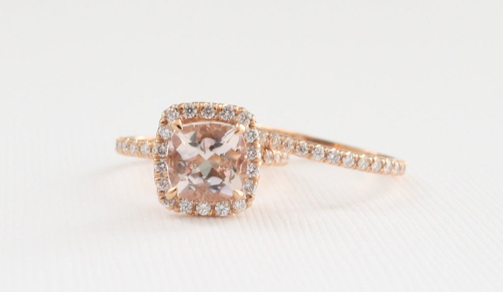 SET - Cushion Morganite Engagement Rings in 14K Rose Gold Halo Diamond Setting