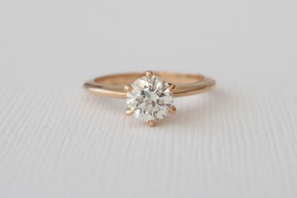 Solitaire Diamond Engagement Ring in 18K Rose Gold