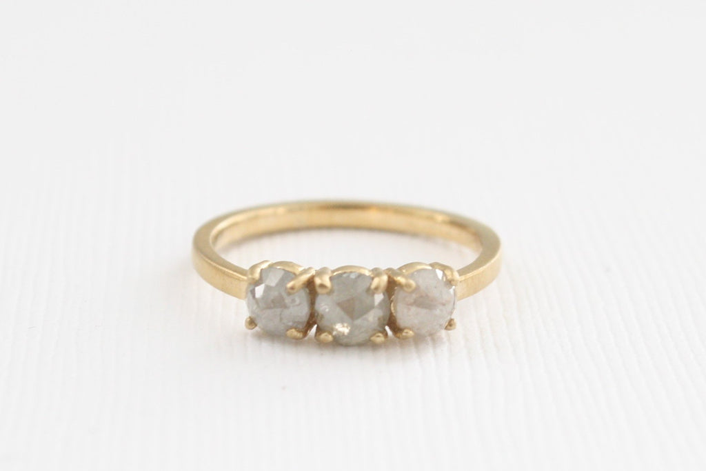 3-Stone Rose Cut Gray Diamond Ring in 14K Yellow Gold