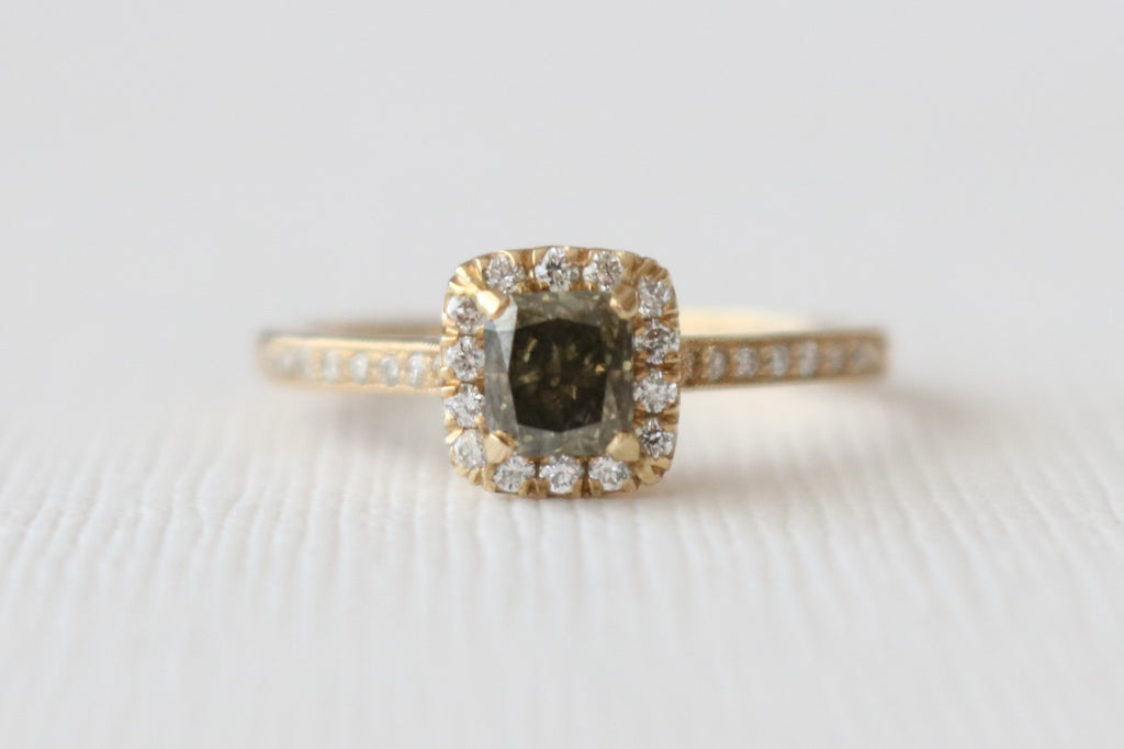 Cushion Champagne Diamond Halo Engagement Ring in 14K Yellow Gold