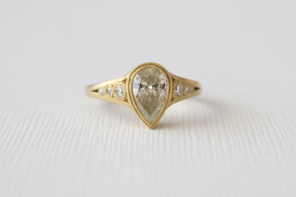 Hand Milgrained Pear Cut Diamond Bezel Ring in 18K Yellow Gold
