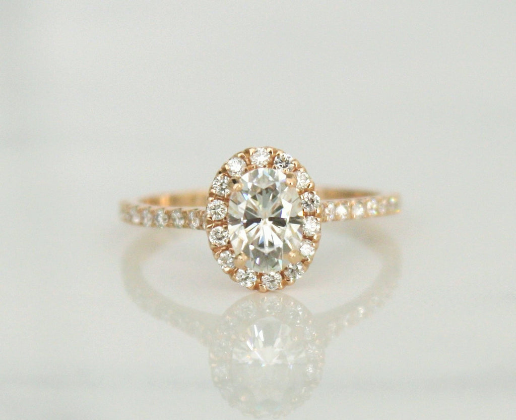 Oval Forever One Moissanite Diamond Engagement Ring in 18K Rose Gold