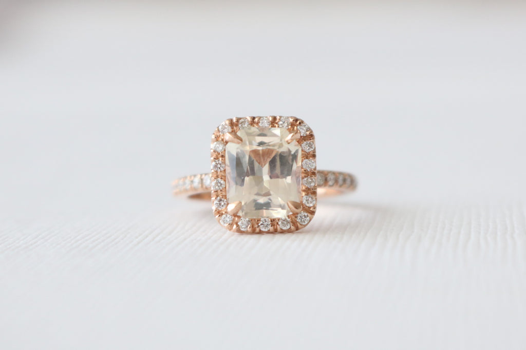 GIA Certified 2.83 Cts. Radiant Cut Peach Champange Sapphire Halo Diamond Ring in 14K Rose Gold