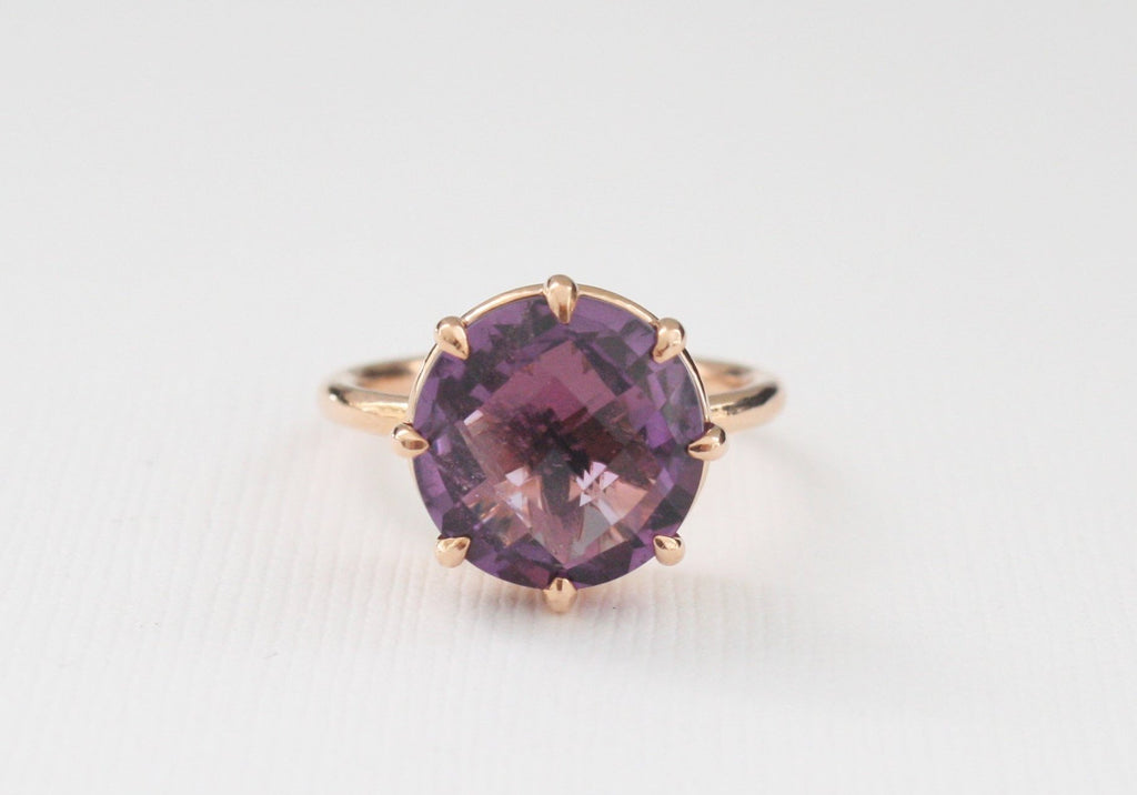 Rose Cut Round Amethyst Solitaire Ring in 14K Rose Gold