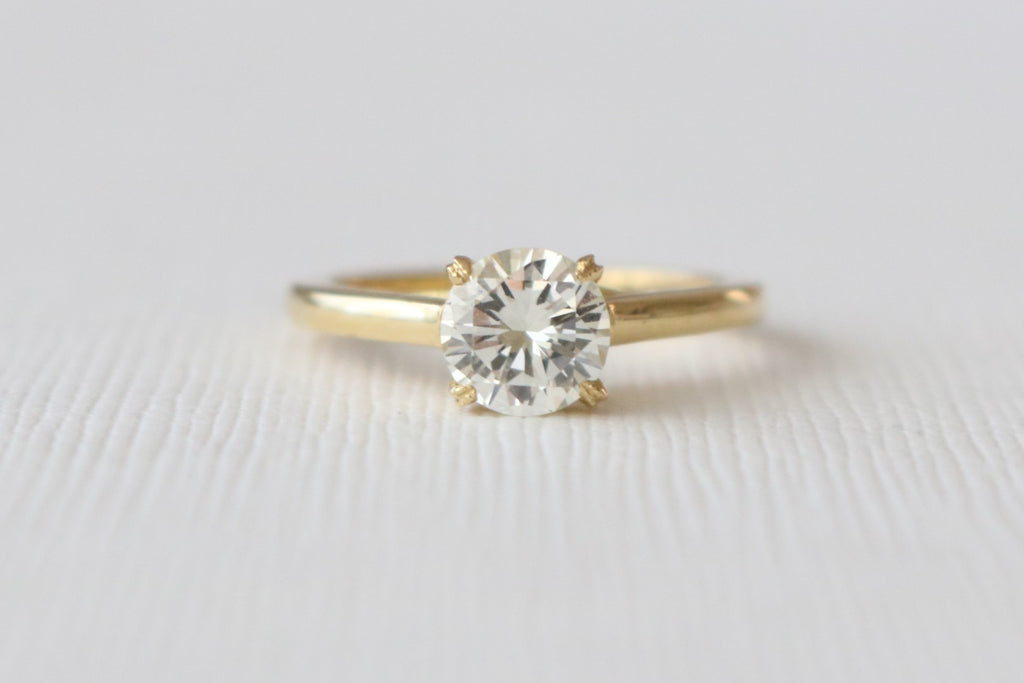 Hand Engraved Solitaire Diamond Engagement Ring in 18K Yellow Gold