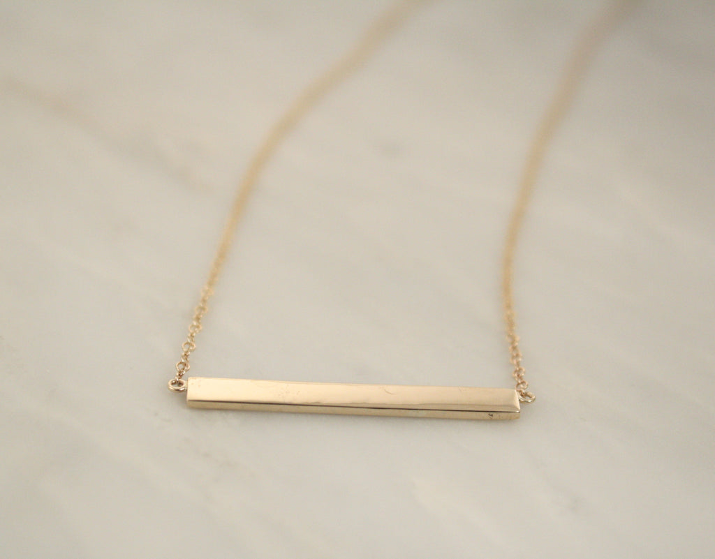 Solid Gold Bar Necklace in 14K Yellow Gold
