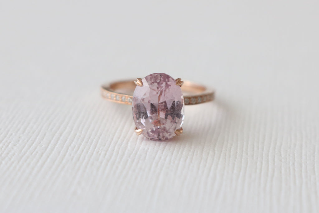 4.48 Cts. Oval Peachy Pink Sapphire Solitaire Diamond Engagement Ring in 14K Rose Gold