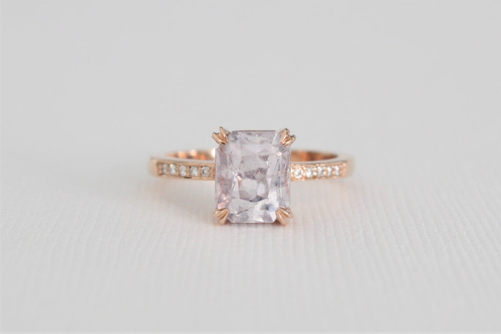 3.17 Cts. Radiant Cut Lavender Sapphire Diamond Ring in 14K Rose Gold