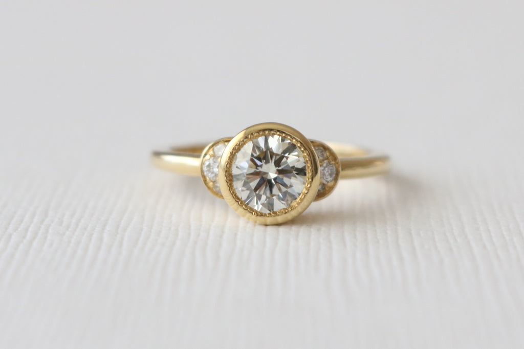Certified Diamond Bezel Ring in 18K Yellow Gold