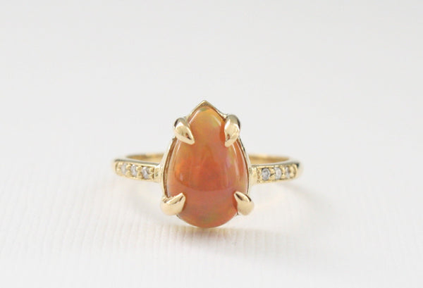 Pear Cut Ethiopian Opal Diamond Ring in 18K Yellow Gold