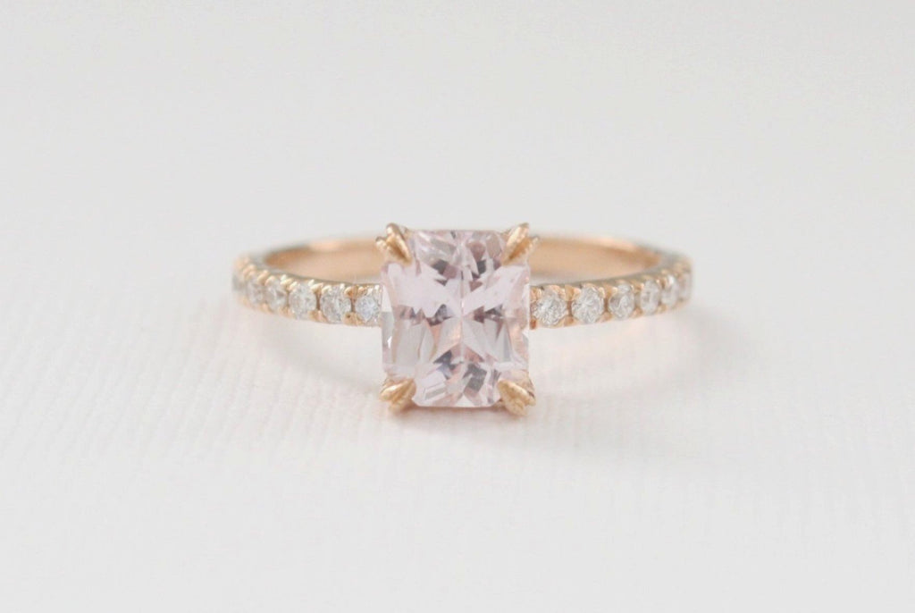 Radiant Cut Peach Sapphire Solitaire Diamond Engagement Ring in 14K Rose Gold