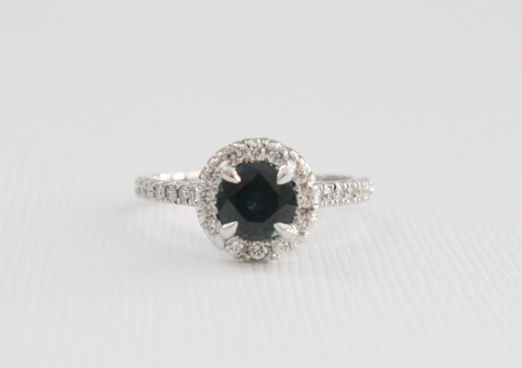 Round Brilliant Sapphire Diamond Halo Engagement Ring in 14K White Gold