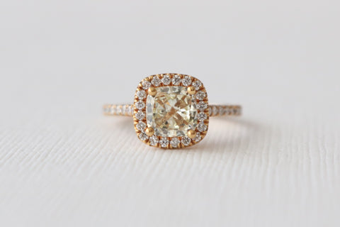 1.42 Ct. Fancy Light Yellow Cushion Diamond Halo Ring in 14K Rose Gold