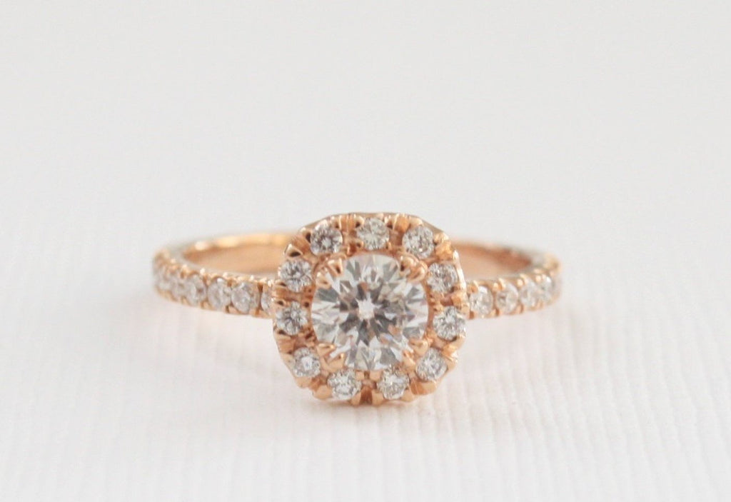 Diamond Halo Engagement Ring in 14K Rose Gold
