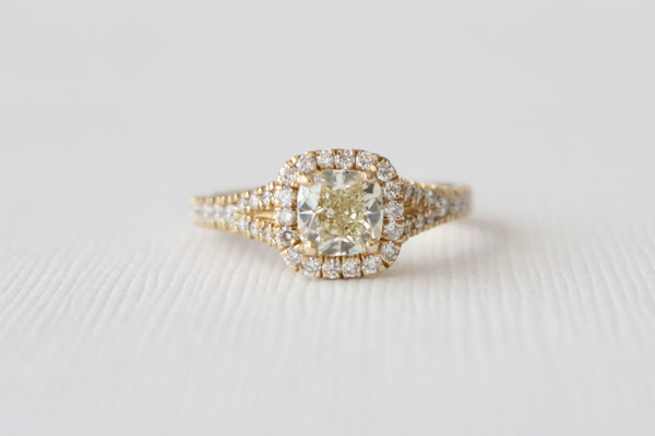 Fancy Light Yellow Cushion Diamond Halo Split Shank Ring in 14K Yellow Gold