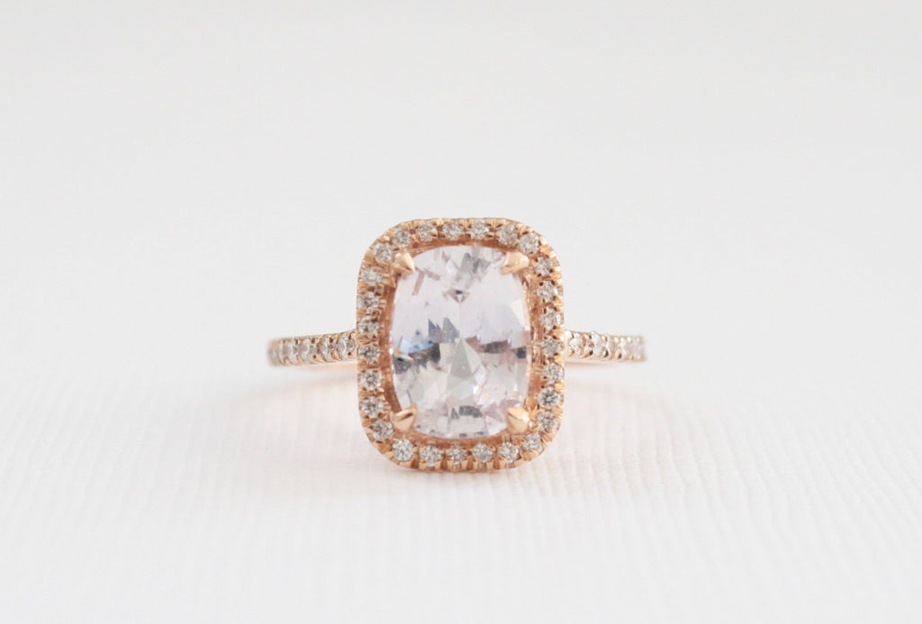 GIA Certified Cushion Lavender Peach Sapphire Diamond Halo Engagement Ring in 14K Rose Gold