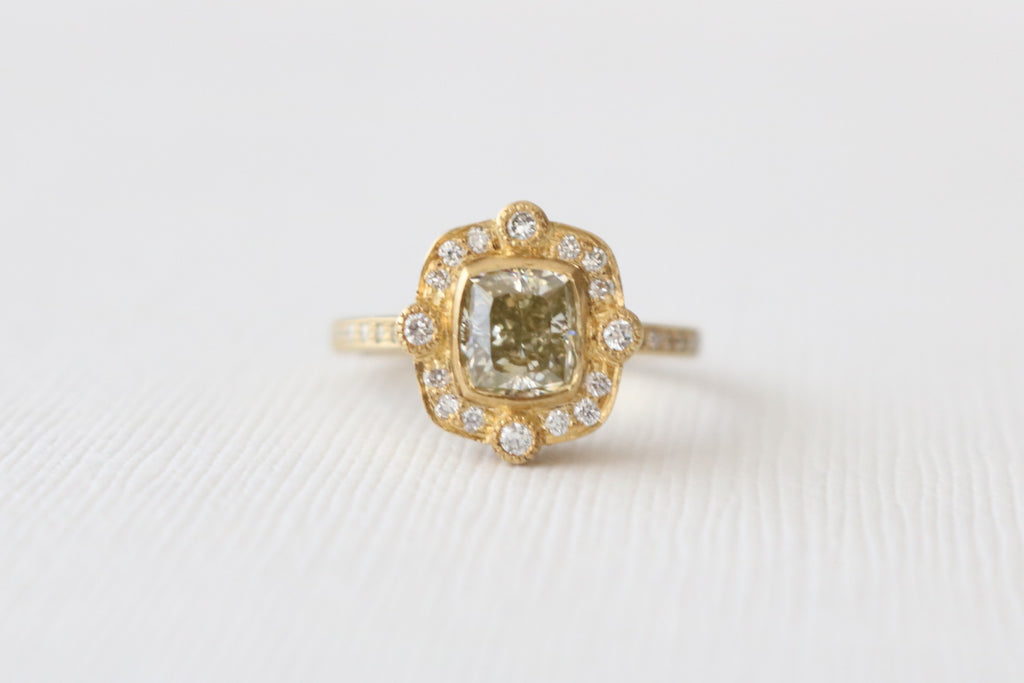 Cushion Cut Champagne Diamond Bezel Ring in 18K Matte Finish Yellow Gold