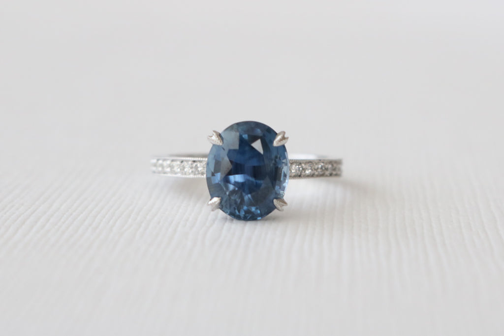 GIA Certified 3.44 Cts.Oval Solitaire Sapphire Ring in 14K White Gold