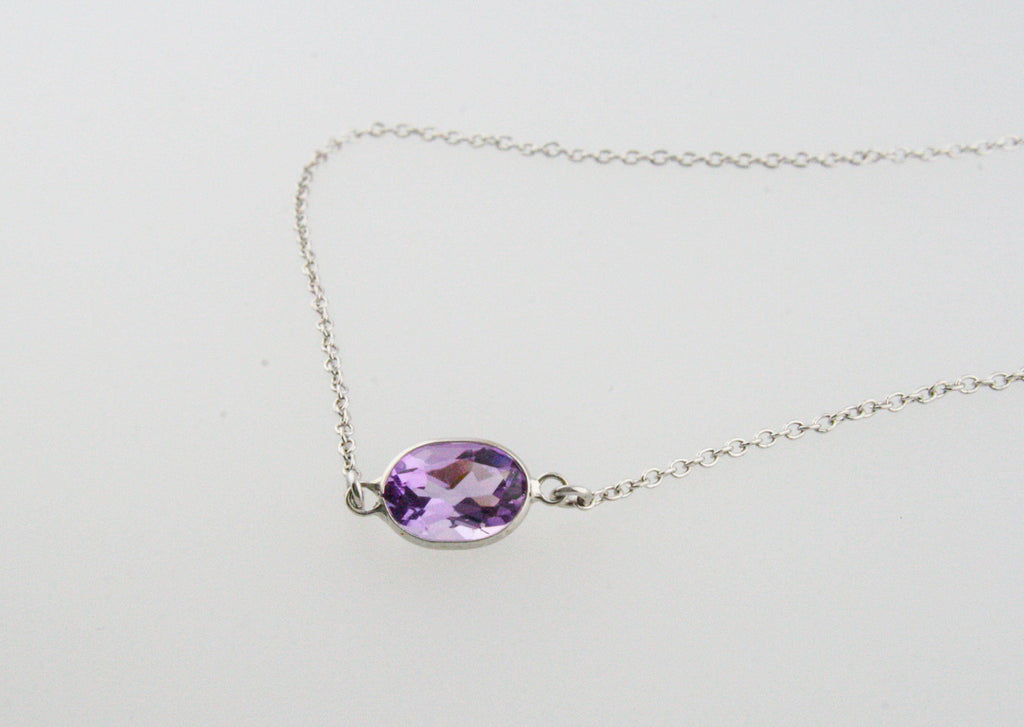 Purple Amethyst Oval Solitaire Necklace in 14K Gold