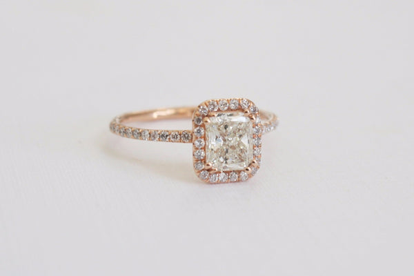 1.17 Ctw. Radiant Cut Diamond Engagement Ring in 14K Rose Gold