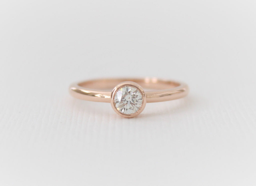 Bezel Solitaire Diamond Engagement Ring in 14K Rose Gold