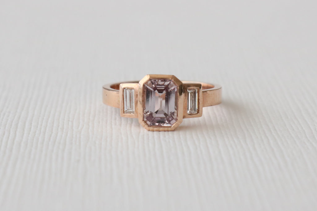Emerald Cut Fancy Pink Sapphire and Diamond Baguette Bezel Ring in 14K Rose Gold