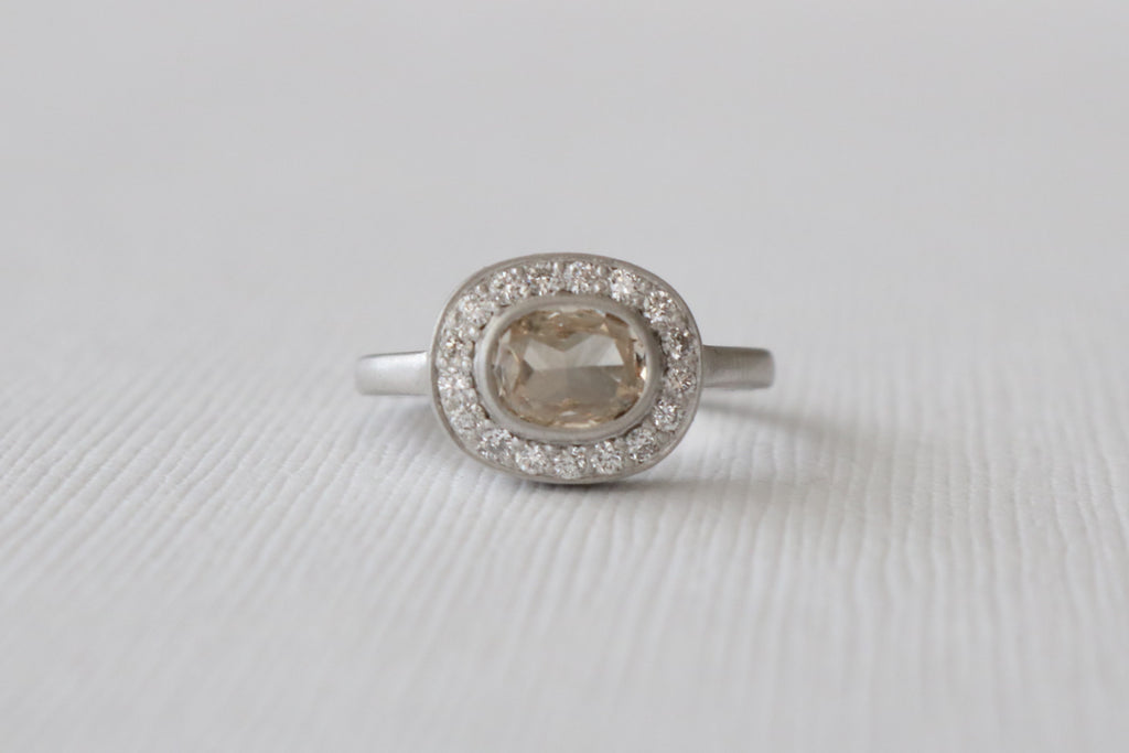 Champagne Rose Cut Diamond Pave' Halo Bezel Ring in 18K Matte Finish White Gold