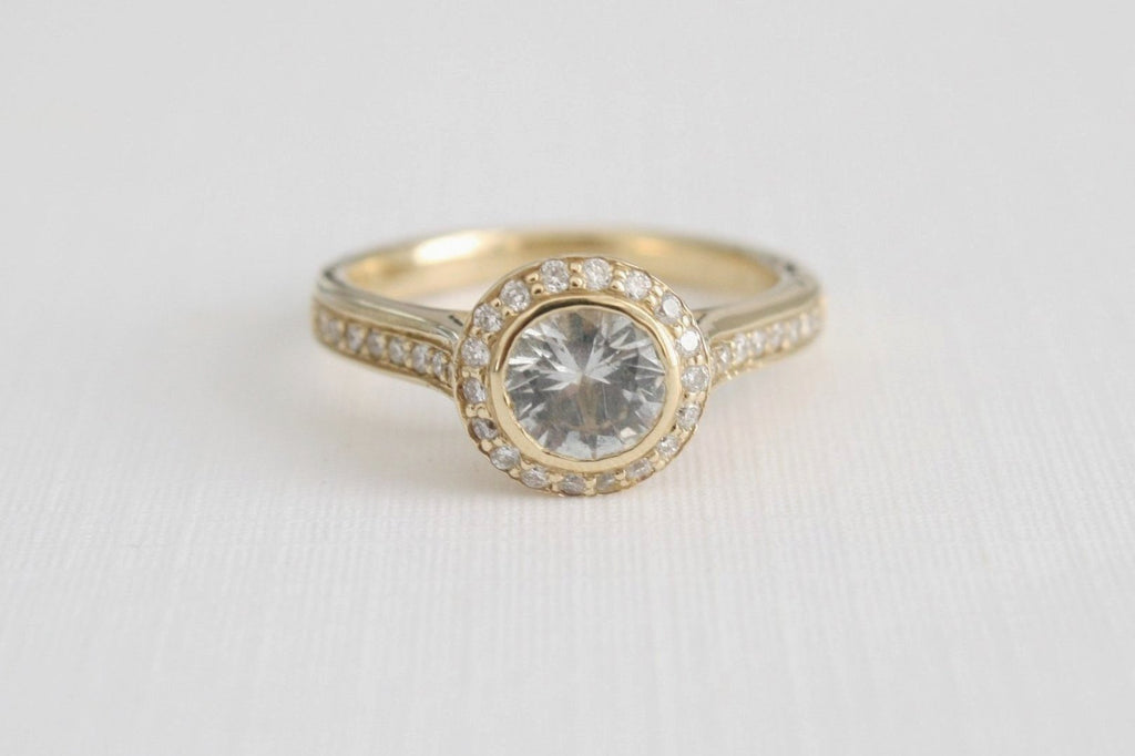 White Sapphire Diamond Halo Engagement Ring in 14K Yellow Gold