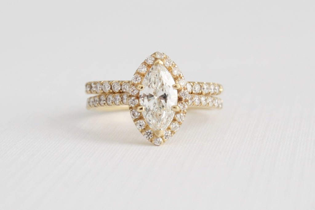 GIA Marquise Diamond Halo Ring Set in 14K Yellow Gold