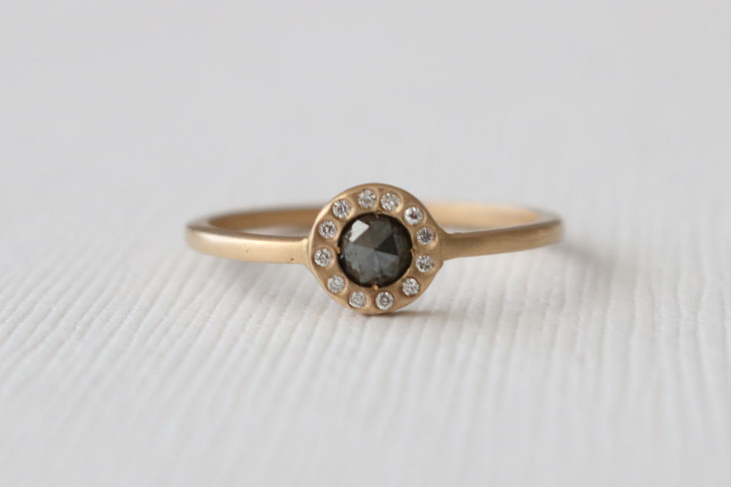 Rose Cut Black Diamond Bezel Ring in 14K Yellow Gold