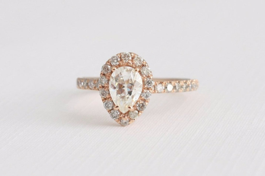Pear Moissanite Diamond Engagement Ring in 14K Rose Gold