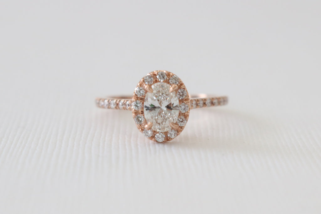 GIA Certified Oval Diamond Halo Engagement Ring in 14K Rose Gold