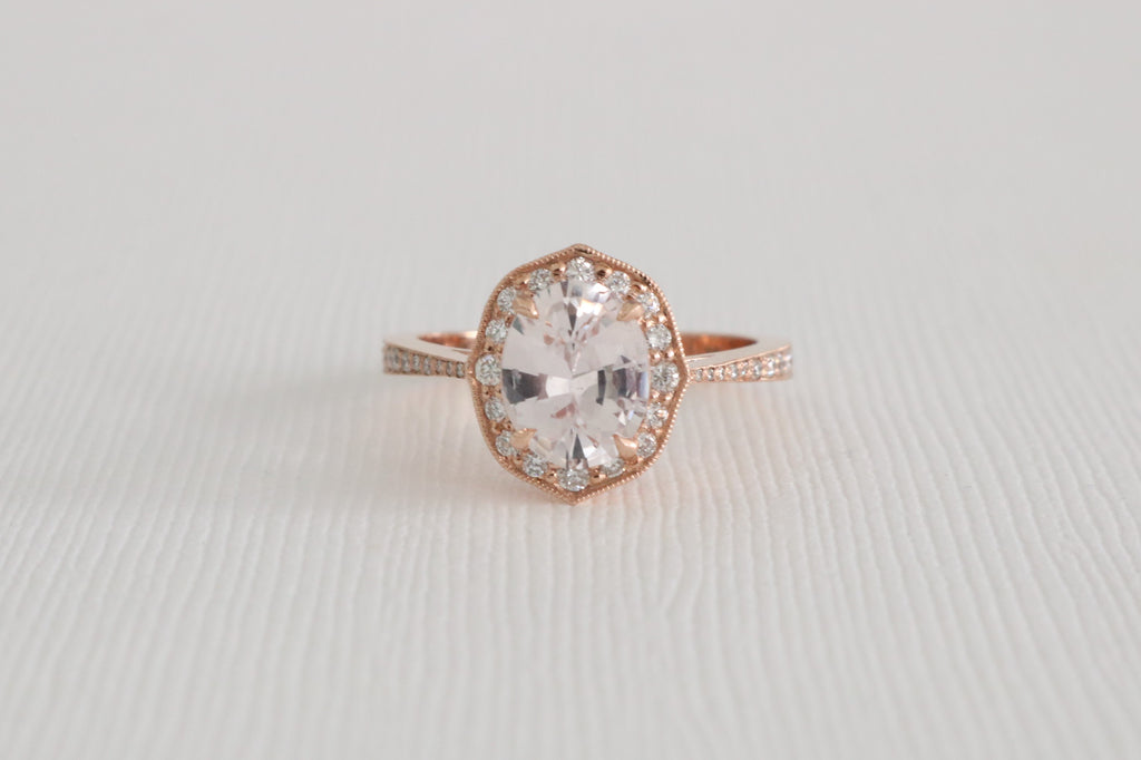 GIA Certified 1.72 Cts. Oval Light Peach Sapphire Diamond Halo Ring in 14K Rose Gold