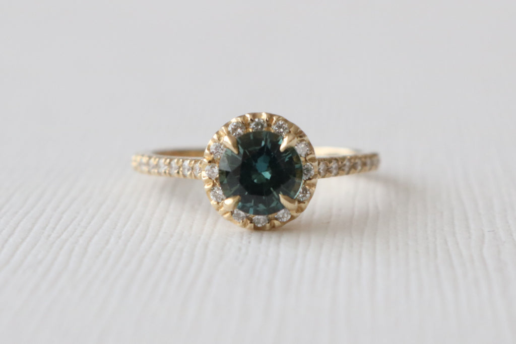 Green Sapphire Enement Ring | Blue Green Sapphire Diamond Halo Engagement Ring In 14k Yellow Gold