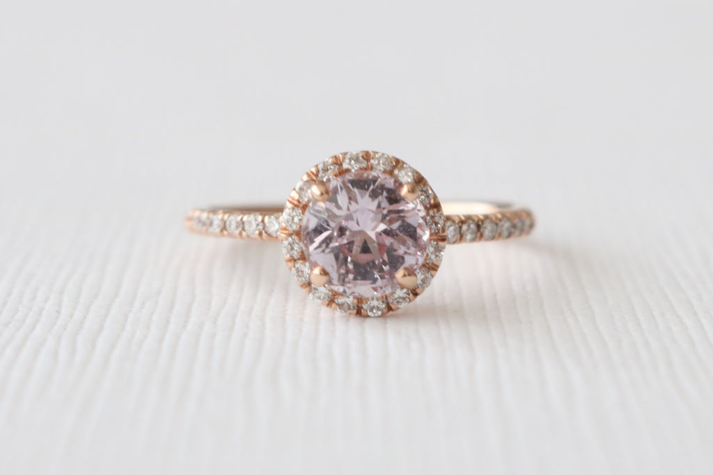 Round Champagne Pink Sapphire Diamond Halo Ring in 14K Rose Gold