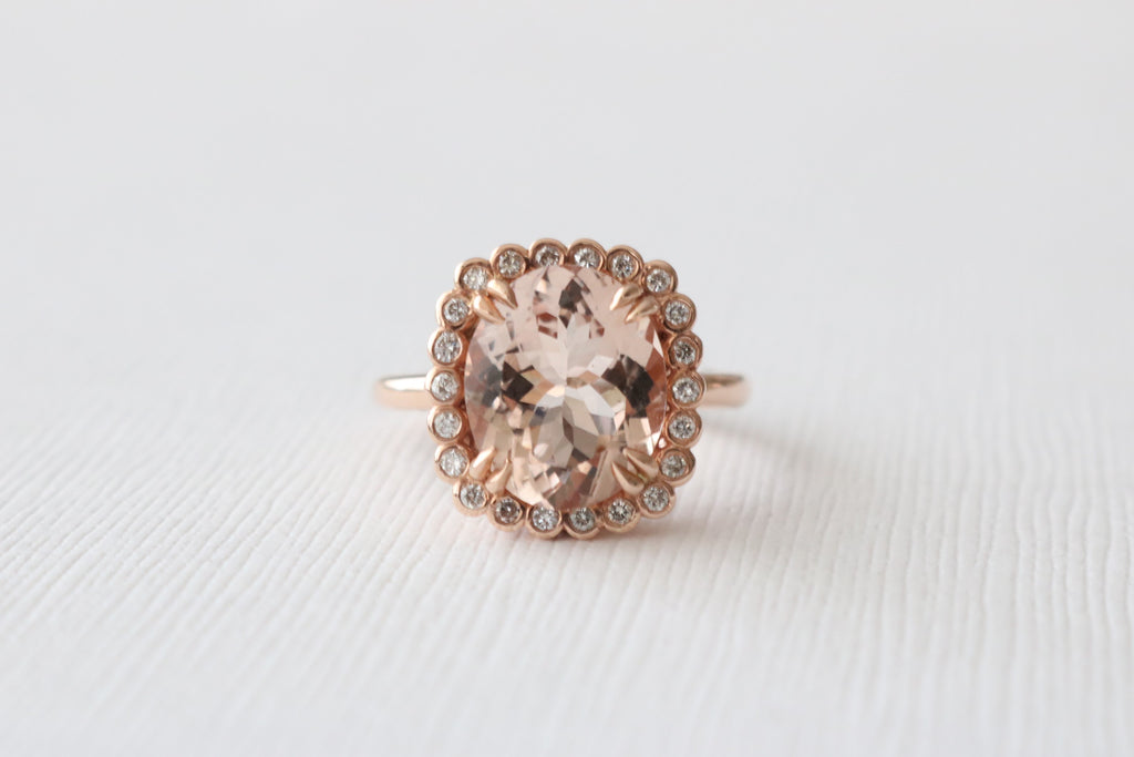 3.94 Cts. Oval Morganite Diamond Halo Engagement Ring in 14K Rose Gold