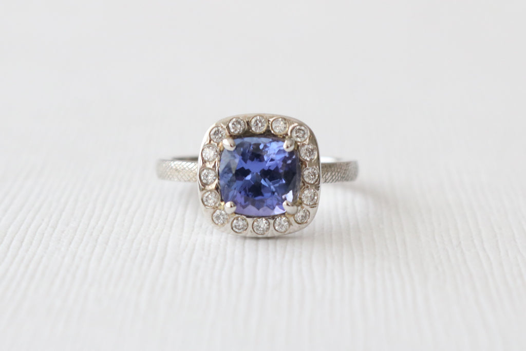 Cushion Cut Tanzanite Diamond Halo Ring in 14K White Gold