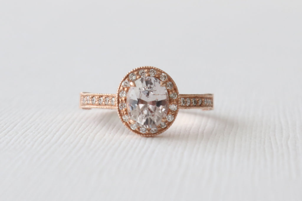 Oval Peach Champagne Sapphire Hand Milgrained Diamond Halo Ring in Filigreed 14K Rose Gold