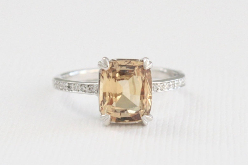 GIA 2.53 Cts. Cushion Cut Champagne Sapphire Solitaire Diamond Ring in 14K White Gold