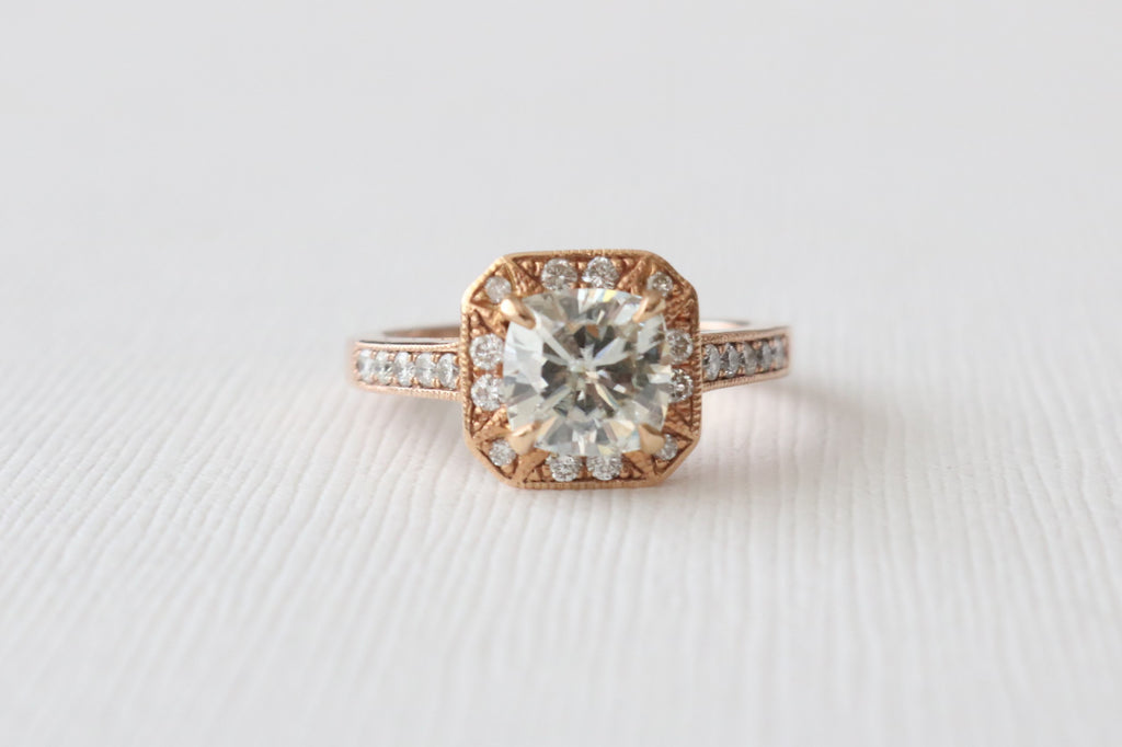 7mm Cushion Moissanite Diamond Engagement Ring in 14K Rose Gold
